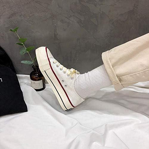Zhuwuneng Scarpe Di Tela Con La Suola Spessa E Basse, Versatili Scarpe Con Rialzo A Molla, Bianco, 37