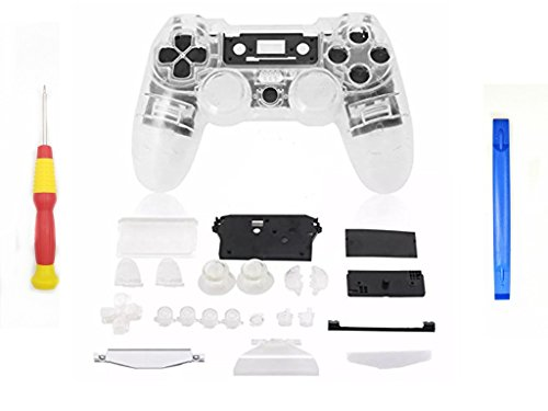 YICHUMY Replacement Clear Full Housing Shell + Buttons for PS4