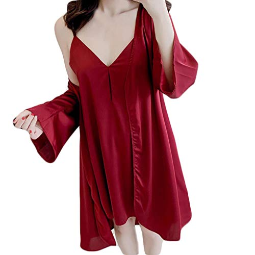 FONMA Women Pajamas Sexy Underwear V-Collar Robe Lingerie Sling Nightgown Wine