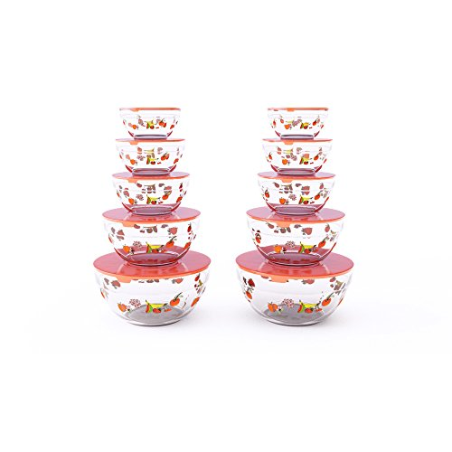 Chef Buddy 82-5758 St Glass Food Containers with Lids-20 Piece Set with Multiple Bowl Sizes for Storage, Meal Prep, Mixing and Serving (Fruit Design), Clear