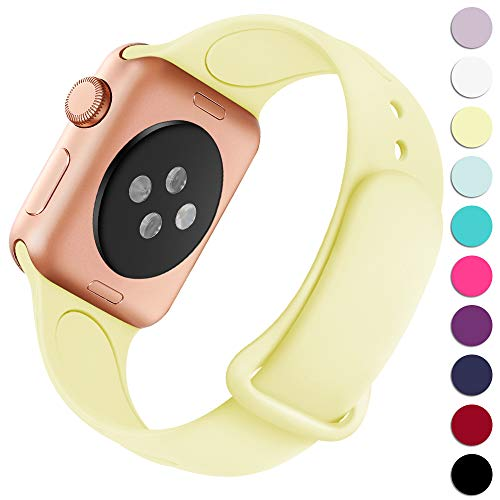 Haveda Bands Compatible with Apple Watch Band 40mm 38mm, Soft Silicone Sport Strap Wristband for Women Men with Apple Watch Series 4, Series 3, Series 2, Series 1, Milk Yellow, 38/40S/M