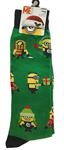 Adult Despicable Me Minion Christmas Green Crew Socks Size -