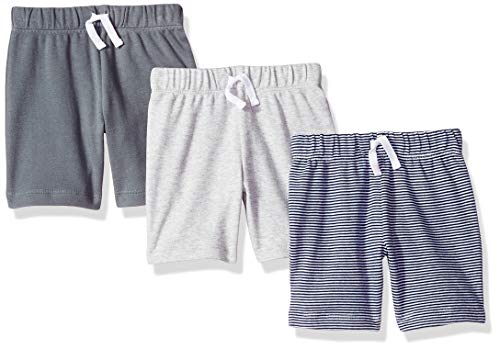 Amazon Essentials Baby Boys 3-Pack Pull-On Short, Grey/Black Stripe, Newborn
