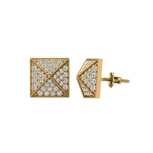Pyramid Style Diamond Stud Earrings 0.40 carat total weight 10K Yellow Gold