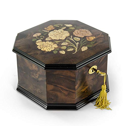 Spacious 22 Note Handcrafted Roses Inlay Octagonal Musical Jewelry Box - Claire De ()