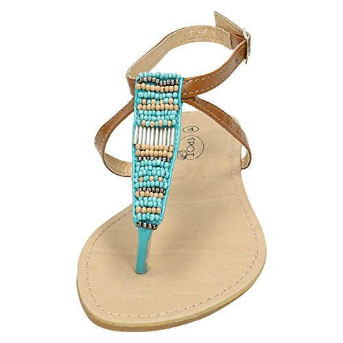 Beaded Spot Blue Turquoise Post Ladies Ankle On Toe Strap Sandals wEqgFf