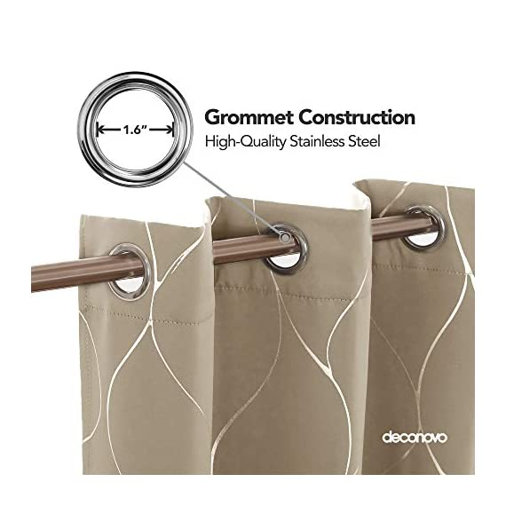 Deconovo Silver Wave Foil Printed Blackout Curtains Room Darkening Grommet Curtain Thermal Insulated Window Drapes for Boys' Room 42W x 72L Inch Set of 2 Panels Khaki - Deconovo decorative blackout curtains are made of 100 percent high quality polyester fabric. Fashioned with a solid color, these curtains are finished with foil printed wave lines on the front face to make it graceful. Our room darkening blockout curtains obstruct all sources of light from entering any room through the window, at any time of the day. These curtain panels can also offer high privacy protection. As thermal insulated curtains, these panels aid in saving on energy cost on heating and cooling a room. They can reduce heat loss and penetration into any room. These curtains are noise reducing, perfect for those in noisy neighborhoods. - living-room-soft-furnishings, living-room, draperies-curtains-shades - 41P0HExX5cL. SS570  -
