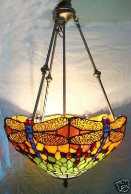 American Made Dragonfly Tiffany Style Pendant Ceiling Fixture Hanging L& L&s -Clc27-18 & American Made Dragonfly Tiffany Style Pendant Ceiling Fixture ...