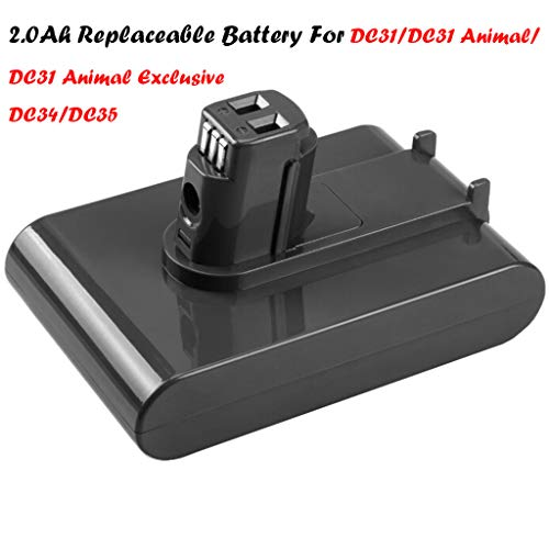 Haluoo Upgraded 22.2V 2500mAh Li-ion Battery for DC35, DC31, DC34, DC44, DC31 Animal, DC35 Animal, DC35 Exclusive Vacuum Cleaner Replacement Battery (2000mAh)