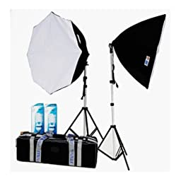 JTL 92175 DL-170 Fluorescent Soft Box Kit II with Two 85W CFL, Light Stands, Carry Case, 33\