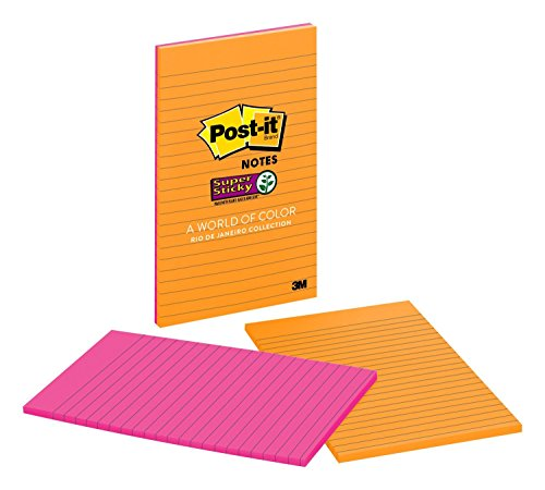 Post-it Super Sticky Notes, 2x Sticking Power, 5 in x 8 in, Rio de Janeiro Collection, Lined, 2 Pads/Pack ()