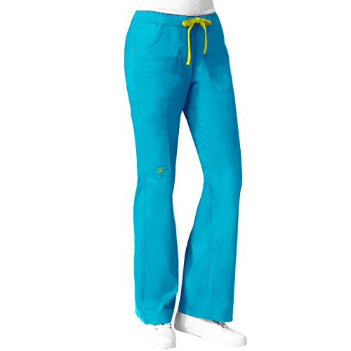 Maevn 'Blossom Mutli Pocket Utility Cargo Pant' Scrub Bottoms Malibu w/ Gold Bartacks Small Petite - Mutli Apparel