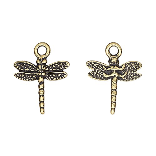 Charm TierraCast antique gold-plated pewter (tin-based alloy) 16mm two-sided (Pewter Dragonfly Antique Charm)
