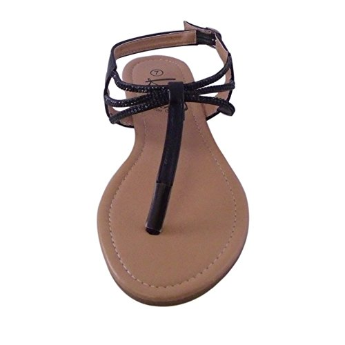 BLANCHO Embellished T-Strap Sandal BLACK worIWHii