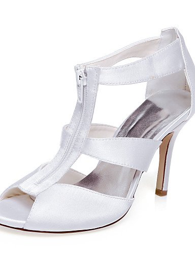ZQ Zapatos de boda-Sandalias-Tacones / Punta Abierta-Boda / Vestido / Fiesta y Noche-Blanco-Mujer , 3in-3 3/4in-white 3in-3 3/4in-white