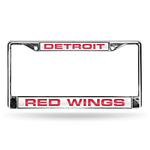 NHL Detroit Red Wings Laser Cut Inlaid Standard License Plate Frame, Chrome, 6