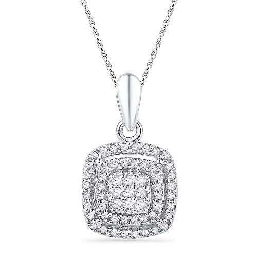 Dazzlingrock Collection 10kt White Gold Womens Round Diamond Square Frame Cluster Pendant 1/4 Cttw
