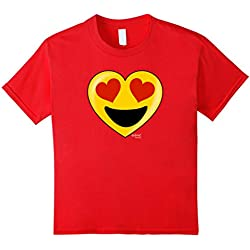 Kids Emoji Heart Valentine's Day Shirt Heart Eyes Big Smile Kids 10 Red