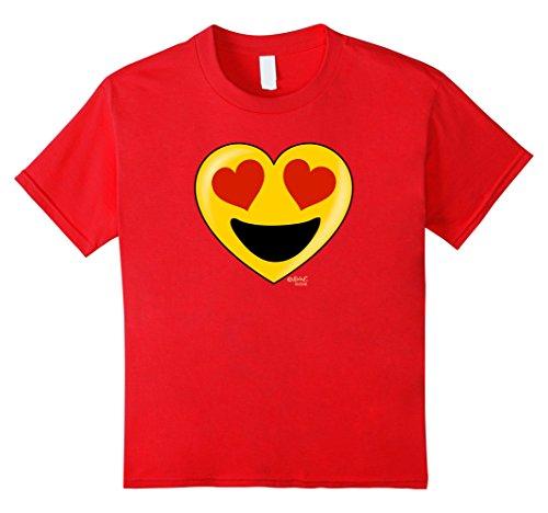 Kids Emoji Heart Valentine's Day Shirt Heart Eyes Big Smile Kids 12 Red