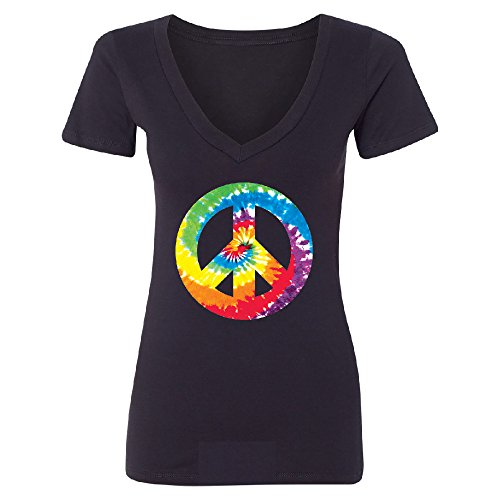 (Christmas Ugly Sweater Co Peace Colorful Tye Dye Retro Women's Deep V-Neck Swirl Woodstock Tee Black XX-Large)