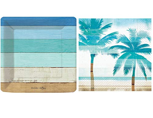 Tropical Summer Beach Picnic Pool Party Supply Pack: Bundle Includes Paper Plates & Napkins in a Boardwalk and Palm Tree Design (Dessert for 16 Guests)