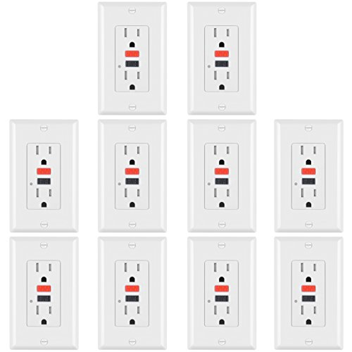 10 Pack -ELECTECK 15A/125V Tamper Resistant GFCI Outlets, Decor Receptacles with LED Indicator, Decorator Wall Plate and Screws Included, Red and Black Buttons, None Self Test, ETL Certified, White by ELECTECK