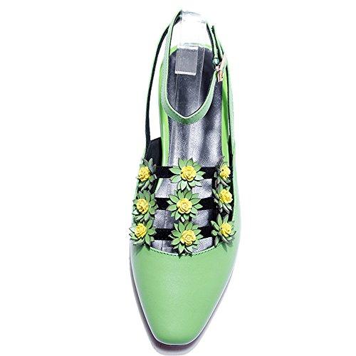 Nueve Siete De Cuero Genuino Para Mujer Con Punta Cuadrada De Tacón Bajo Apliques Hechos A Mano Llano De Correa De Tobillo Zapatos Planos Verdes
