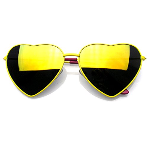 Premium Womens Cute Metal Frame Heart Shape Sunglasses (Flash Mirror | Yellow, - Online Glasses Prescription Canada