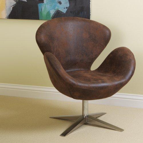 Blake Brown Aged Microfiber Swan Design Chair w/ Swivel Seat 41P0LXXIOCL