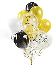 HOUZE LS-9487 Balloons (Set of 10) - Gold + Black + Glitters