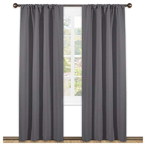 (NICETOWN Blackout Curtains 84 for Bedroom - Three Pass Microfiber Noise Reducing Thermal Insulated Solid Rod Pocket Blackout Window Panels/Drapes (Two Panels,42 x 84 Inch,Gray))