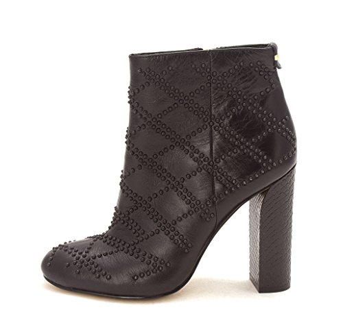 Calvin Klein Womens Jamine Crackled Leather Closed Toe Ankle, Black, Size 5.5