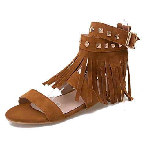 COOLCEPT Mujer Moda Al Tobillo Sandalias Punta Abierta Slingback Zapatos With Borlas Amarillo