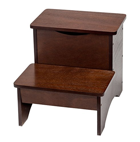 Fox Valley Traders 2 Step Wooden Step Stool with Hidden Storage by Oakridge, 15