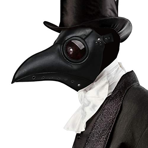 Witch Doctor Cosplay (Plague Doctor Costume Mask Faux PU Leather Bird Beak Steampunk Halloween Cosplay Party Props (Deluxe)