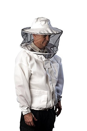 (Pro-Breeze Ventilated Beekeeping Jacket For Men/Women By Forest Beekeeping Supply - Round Vented Apiary Jacket W/Veil Hood For Beginner/Commercial Beekeepers | Brass Zippers and Thumb Straps - Large )