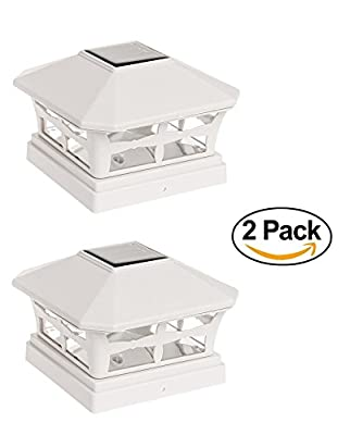 """2 Pack Solar Power Garden Sun Light 5""""x5"""" Post Cap Light (Off White)"""
