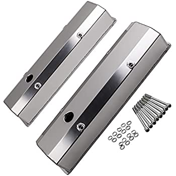 1958-86 CHEVY SMALL BLOCK 283-305-327-350 TALL CHROME ALUMINUM RECESSED VALVE COVERS SMOOTH