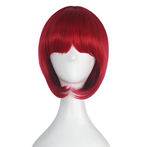 Girl's Short Straight Bob Style Hair Harajuku Lolita Punk Wig Anime Cosplay Costume Wig Party Halloween (Red)