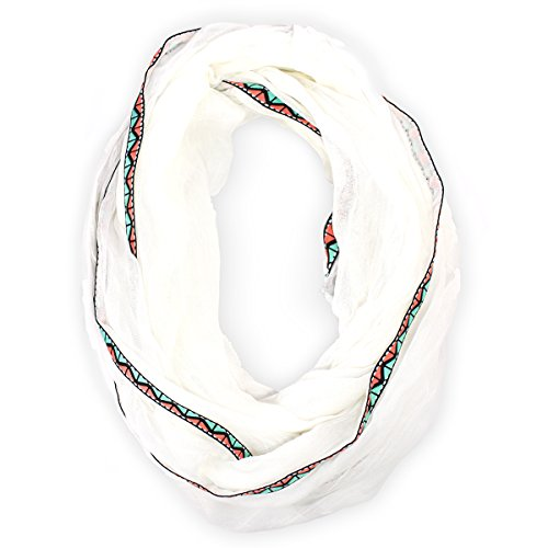 Steve Madden Women's Touch of Tribal Infinity Loop Gauze Scarf, White - Gauze Cashmere