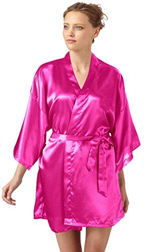 SlickBlue Womens Kimono Robe Satin Bridesmaid Lounge Sleepwear (Glamour Nightgown)
