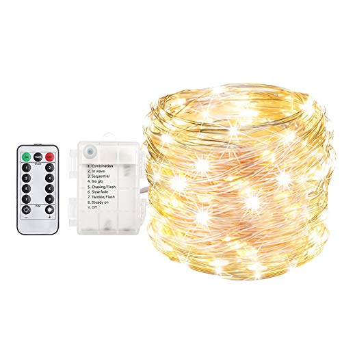 ANJAYLIA 33ft 100 LED Fairy Lights Battery Operated, Waterproof Dimmable String Lights with Remote Control Timer, Warm White (Battery Timer Warm String Led White Lights Operated)