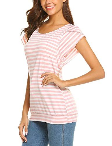 Hersife Womens Stripy Top Short Sleeve Tunics Striped Banded Bottom Shirts Pink by Hersife (Image #4)