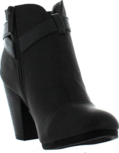 Breckelles GAIL 22 Womens Belted Chunky Stacked Heel Ankle Booties Ankle Bootie