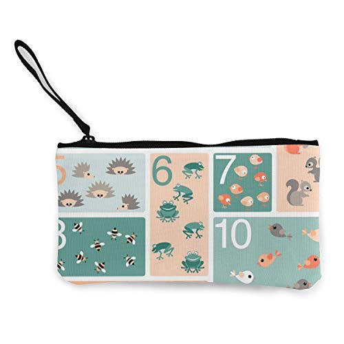 Woodland Counting Multifunctional Portable Canvas Coin Purse Phone Pouch Cosmetic Bag,Zippered Wristlets Bag