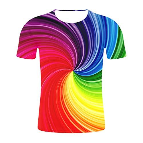 - iLXHD Men Short Sleeve 2019 New Summer Print T-Shirts Vertigo Hypnotic Colorful Print 3D T-Shirt Casual Blouses