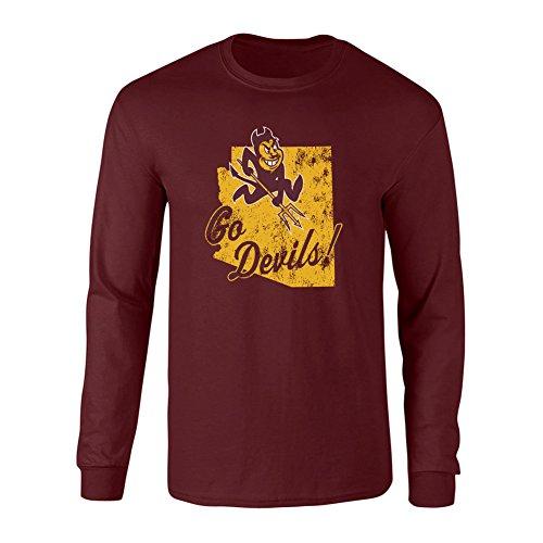 (Elite Fan Shop Arizona State Sun Devils Long Sleeve Tshirt Vintage Maroon - L)