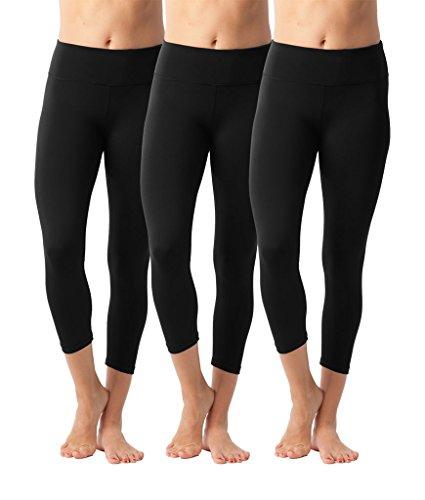 90 Degree By Reflex Yoga Capris - Yoga Capris for Women - Hidden Pocket-Black 3 Pack - XS by 90 Degree By Reflex (Image #5)