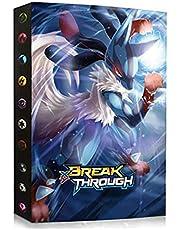 Verzamelalbum compatibel met Pokemon, album compatibel met Pokemon-kaarten, nietmachine compatibel met Pokemon, kaartenhouder, map boek, compatibel met Pokemon GX EX Trainer (Lucario)