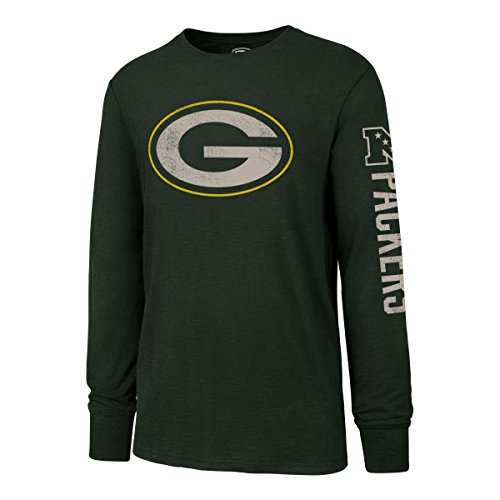 NFL Green Bay Packers Men's OTS Slub Long Sleeve Team Name Distressed Tee, Dark Green, Medium